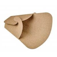 Pochette crêpe triangulaire en carton brun  145x65mm H185mm