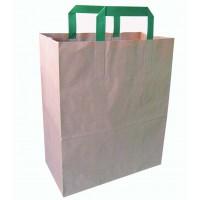 Sac cabas papier brun recyclé anses vertes  260x170mm H280mm