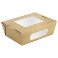 Boîte salade carton kraft brun à double fenêtre 850ml 155x118mm H53mm
