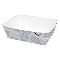 Barquette en carton décor journal 440ml 80x110mm H40mm
