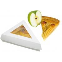Boîte pâtissière triangulaire carton blanc avec couvercle à fenêtre  155x130mm H45mm