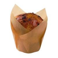 Caissette de cuisson forme tulipe en papier brun siliconé  Ø50mm  H85mm