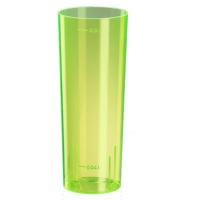 Verre tube plastique PS jaune fluorescent réutilisable 300ml Ø59mm  H152mm