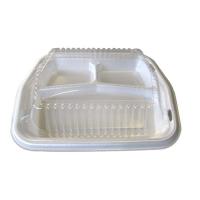 Coquille plastique PSE blanc 3 compartiments avec couvercle transparent  220x250mm H30mm